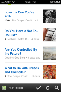 Feedly for iPhone Contents Screen