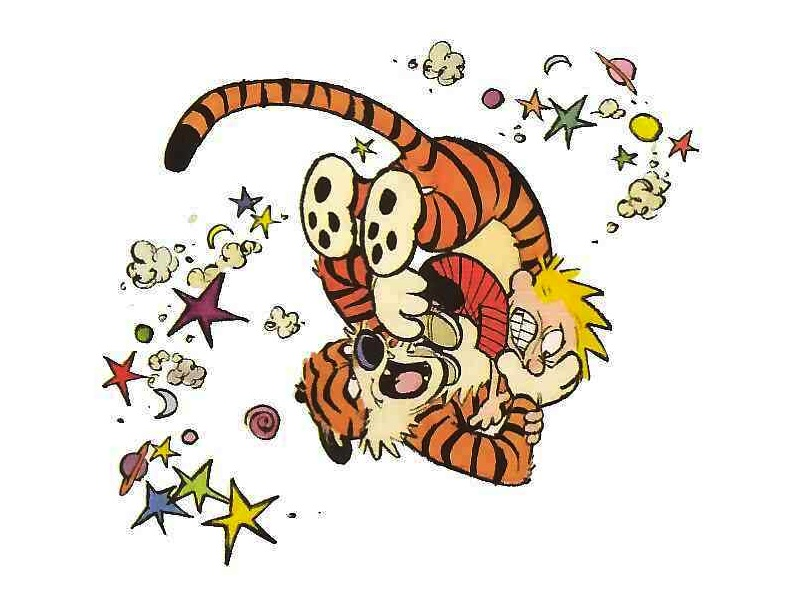 Calvin and Hobbes fighting