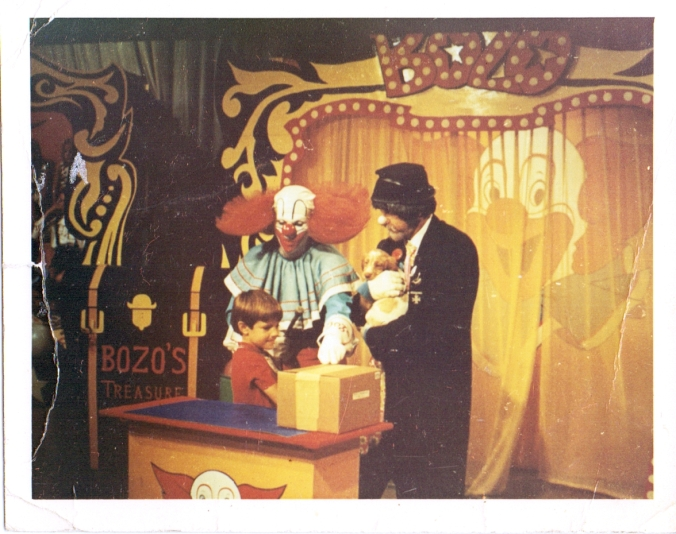 Lon winning a puppy on Bozo the Clown