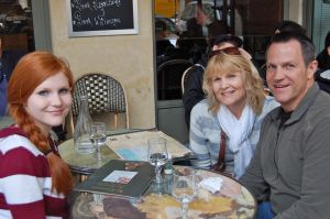 Lon, Dawn and Heidi at a Street Cafe in Paris