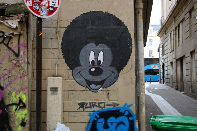 Mickey Mouse graffiti in Saint Michel, Paris, France