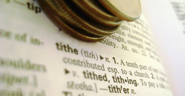 photo of tithe in dictionary