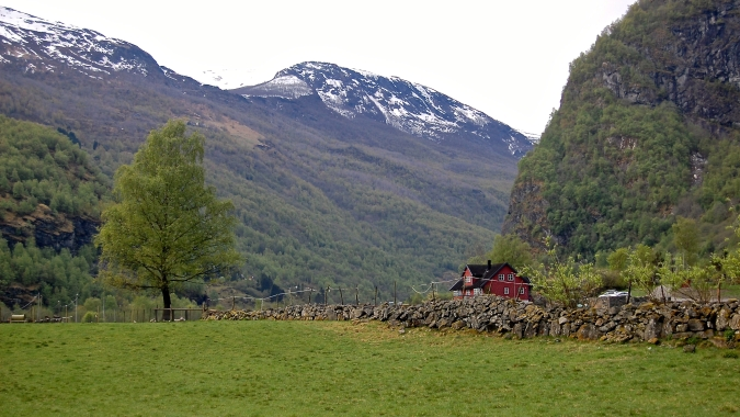 Red Farmhouse in Flåm, Norway