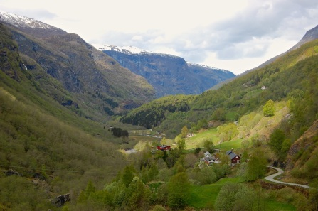 Valley village seen from the Flåmsbana train