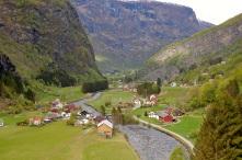 The Village of Lunden seen from the Flåmsbana train