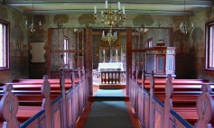 Interior of the Flåm Church, 1677, still in use, now in Lunden, Norway.