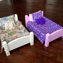 Doll beds for our grand daughters. Dawn made the fabric goods