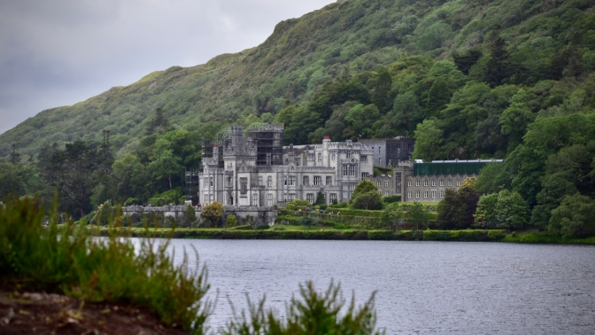 A parting view of Kylemore Abbey. This side hides most of repair scaffolding