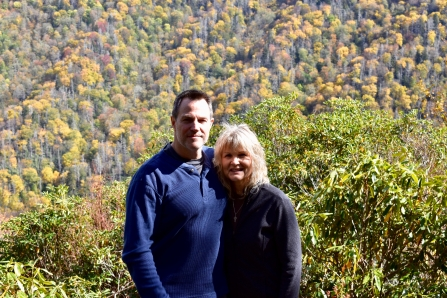 Dawn and me at Chimney Tops Overlook